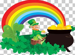 Rainbow Pot Of Gold Leprechaun Saint Patricks Day PNG