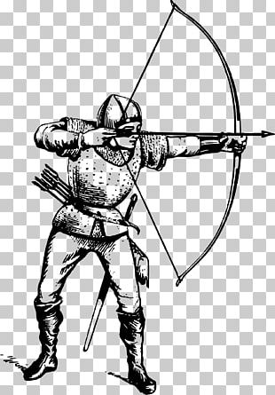 Middle Ages Archery Bow And Arrow Drawing PNG