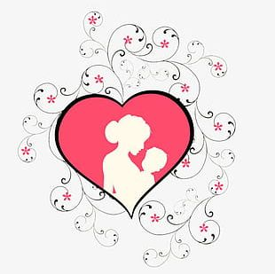 Pink Heart Mother's Day Mother's Arms Child Element PNG