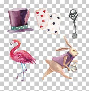 Watercolor Painted Rabbit Hat Keys Poker PNG