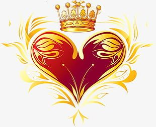 Crown Red Heart-shaped Gold Lace On PNG
