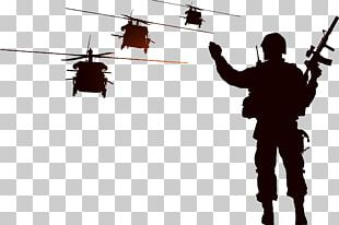 Soldier Silhouette Helicopter Illustration PNG