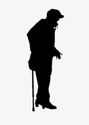 Silhouette Man On Crutches PNG