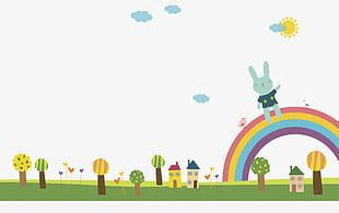 Bunny And Rainbow PNG
