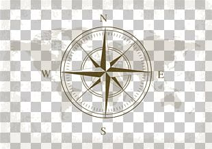 Globe Compass Nautical Chart World Map PNG