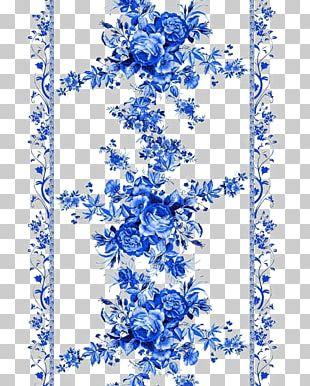 Beach Rose Blue Pattern PNG