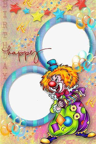 Happy Birthday Clown Photo Frame PNG