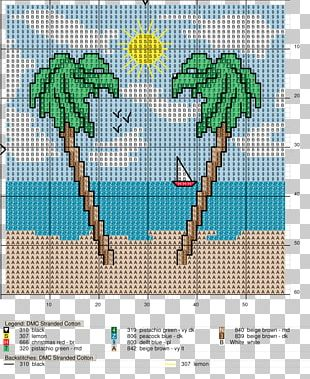 Cross-stitch Flowering Plant Line Tree Pattern PNG