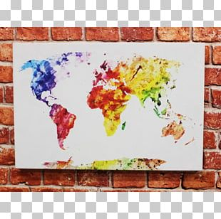 World Map Stock Photography Watercolor Painting Mural PNG