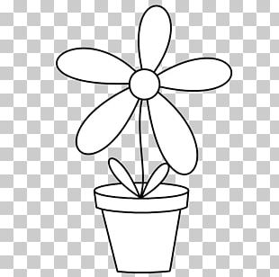 Flowerpot Black And White Line Art PNG