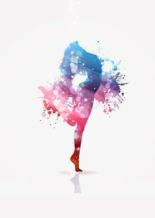 Ink Colorful Dancing People Background PNG