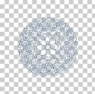 Blue And White Pottery Motif Circle PNG