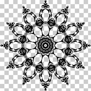 Black And White Floral Design Decorative Arts Ornament PNG