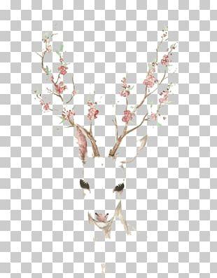 Deer Antler Elk Cherry Blossom Paper PNG