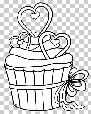 Cupcake Drawing Black And White Coloring Book PNG