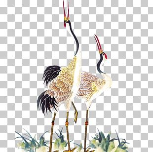 Red-crowned Crane Chinese Calligraphy Painting PNG