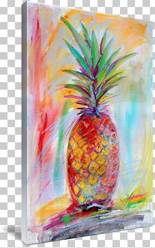 Pineapple Acrylic Paint Upside-down Cake Painting Canvas PNG