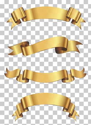 Borders And Frames Ribbon Gold PNG