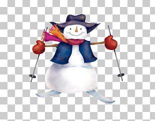Skiing Snowman Christmas PNG