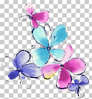 Watercolor Painting Butterfly Flower PNG