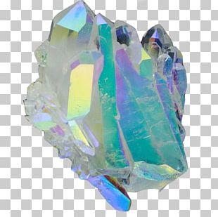 Metal-coated Crystal Quartz Mineral Crystal Cluster PNG