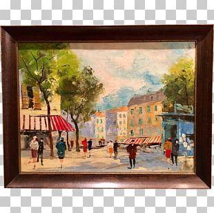 Oil Painting Paris Street; Rainy Day Art PNG