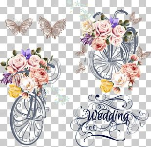 Wedding Invitation Bicycle Flower PNG