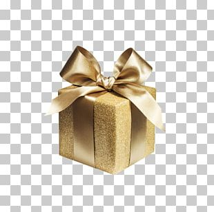 Gift Wrapping Paper Gold Box PNG
