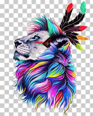 Lion Watercolor Painting Drawing PNG