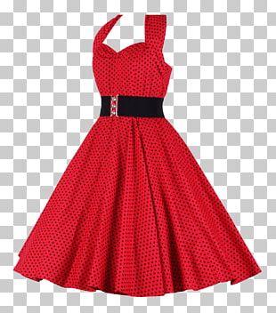1950s Dress Halterneck Clothing Polka Dot PNG
