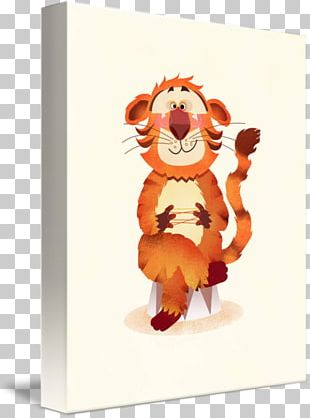 Tiger Cat Gallery Wrap Cartoon Canvas PNG