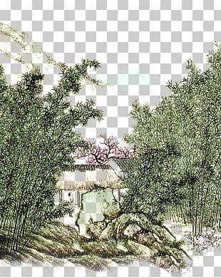 Ink Wash Painting Landscape PNG