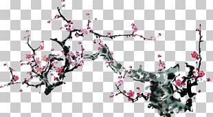 Ink Wash Painting Plum Blossom Japanese Ink Painting Illustrator PNG