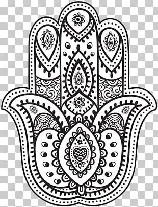 Hamsa Mandala Coloring Book Drawing PNG