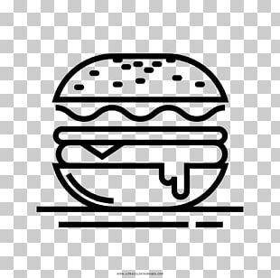 Hamburger Cheeseburger French Fries Drawing Black And White PNG