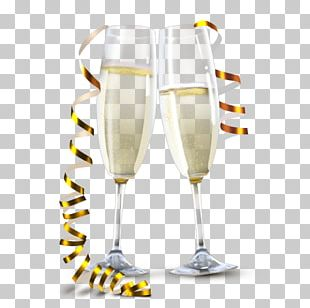 White Wine Champagne Glass PNG