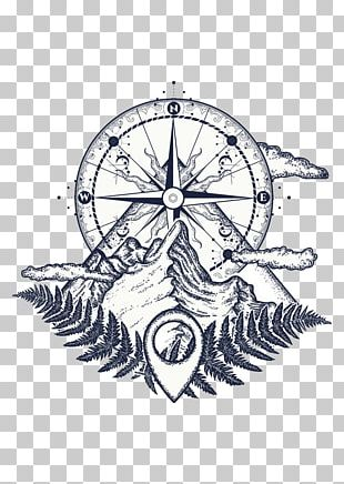 Tattoo Artist Compass Mountain PNG