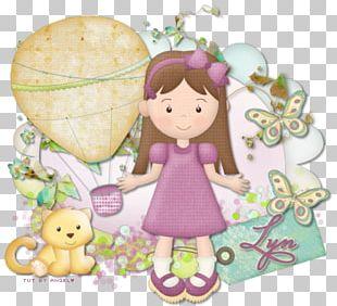Lilac Cartoon Doll Character PNG