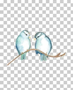 Bird Watercolor Painting Sparrow Blue PNG