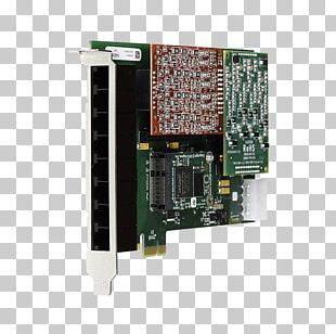 Digium 1A4A00F 4 Port Modular Analog Pci 3.3/5.0v Card Foreign Exchange Service Foreign Exchange Office Asterisk PNG