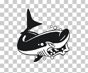 Shark Cartoon Black And White PNG