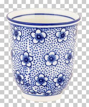 Ceramic Glass Blue And White Pottery Flowerpot Mug PNG