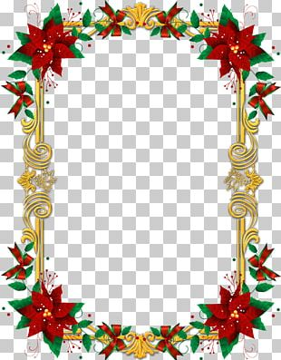 Borders And Frames Poinsettia Frames Christmas PNG