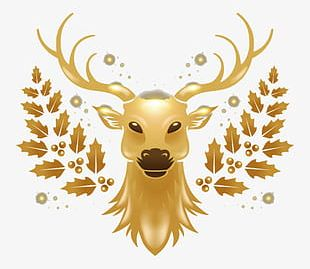 Golden Christmas Reindeer PNG