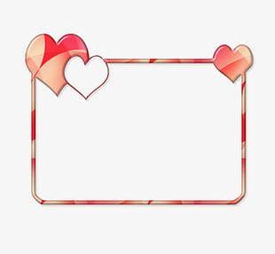 Heart Decoration Rectangle Frame PNG