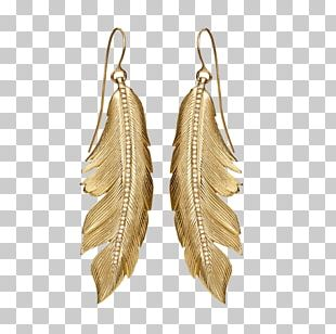 Earring Jewellery Gold Feather Necklace PNG