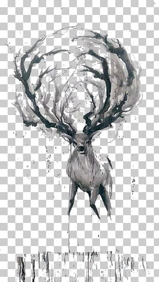 Deer Watercolor Painting Ink Wash Painting Sketch PNG