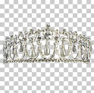 Silver Crown Tiara Imitation Gemstones & Rhinestones PNG