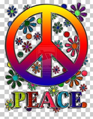 Peace Symbols Flower Sticker PNG
