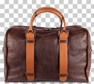 Briefcase Handbag Leather Brown Caramel Color PNG